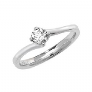 9ct White Gold 0.35ct Solitaire Diamond Ring Four Claw twist syle mount